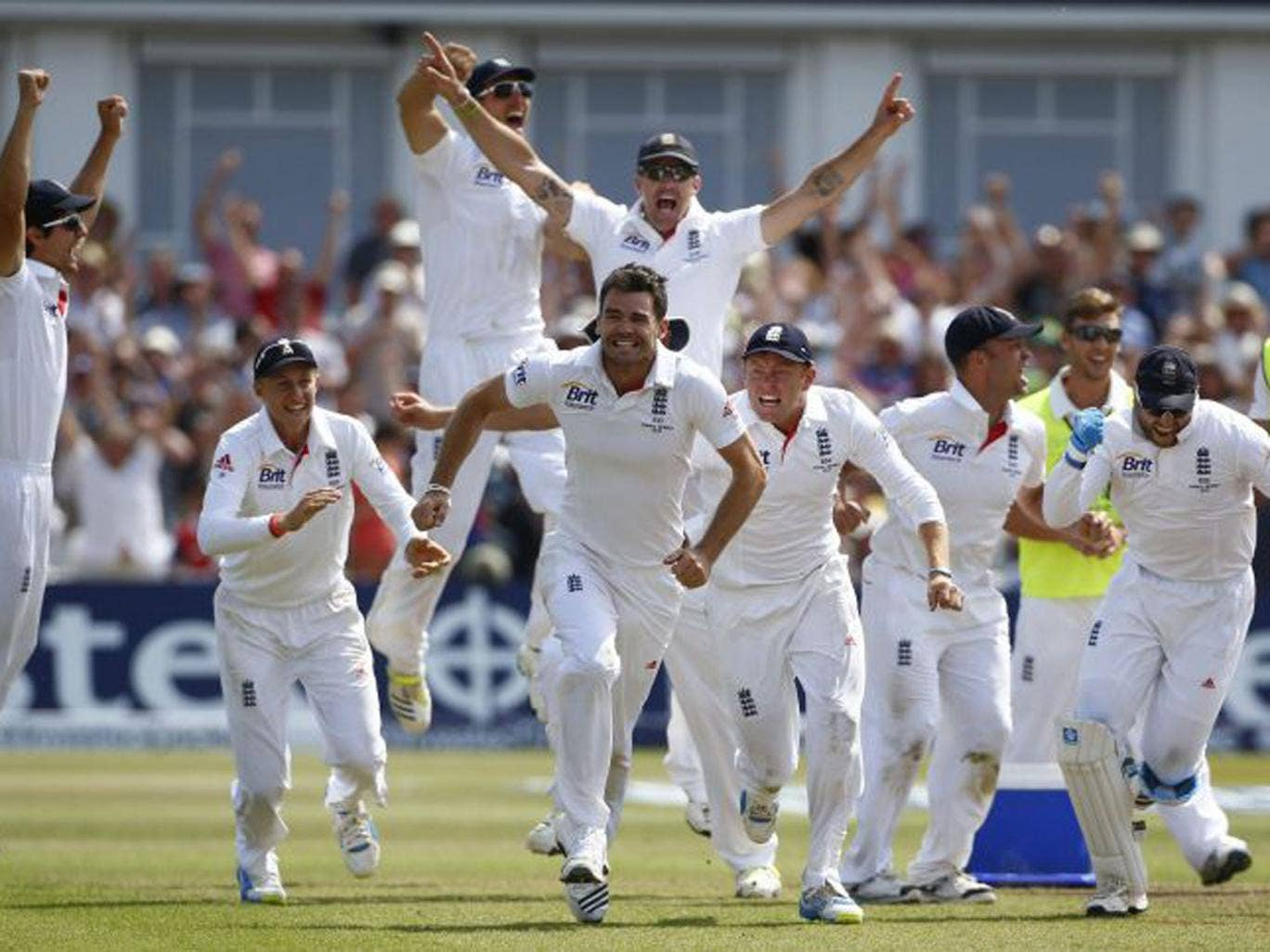 England celebrate their victory after a compelling first Test