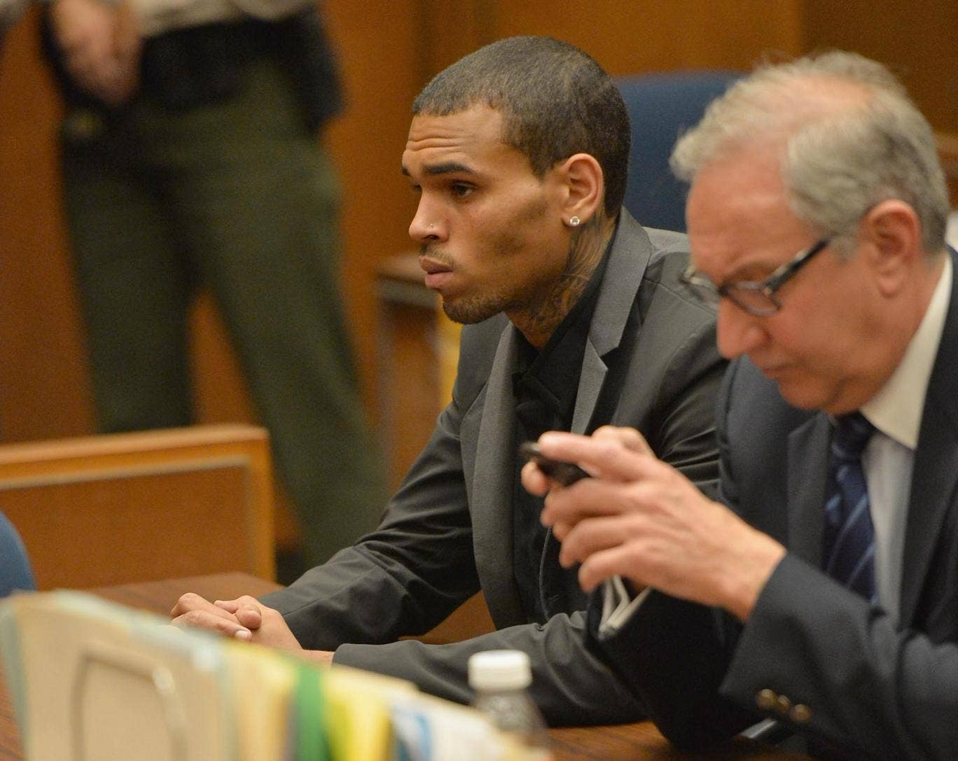 Chris Brown with his lawyer Mark Geragow during Brown's last court appearance in Los Angeles, California