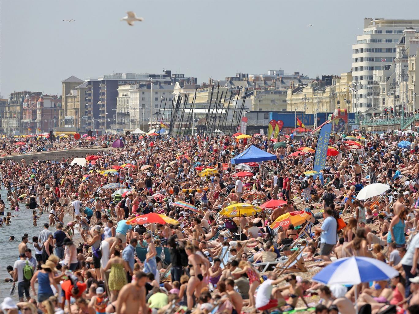 A packed Brighton beach last weekend
