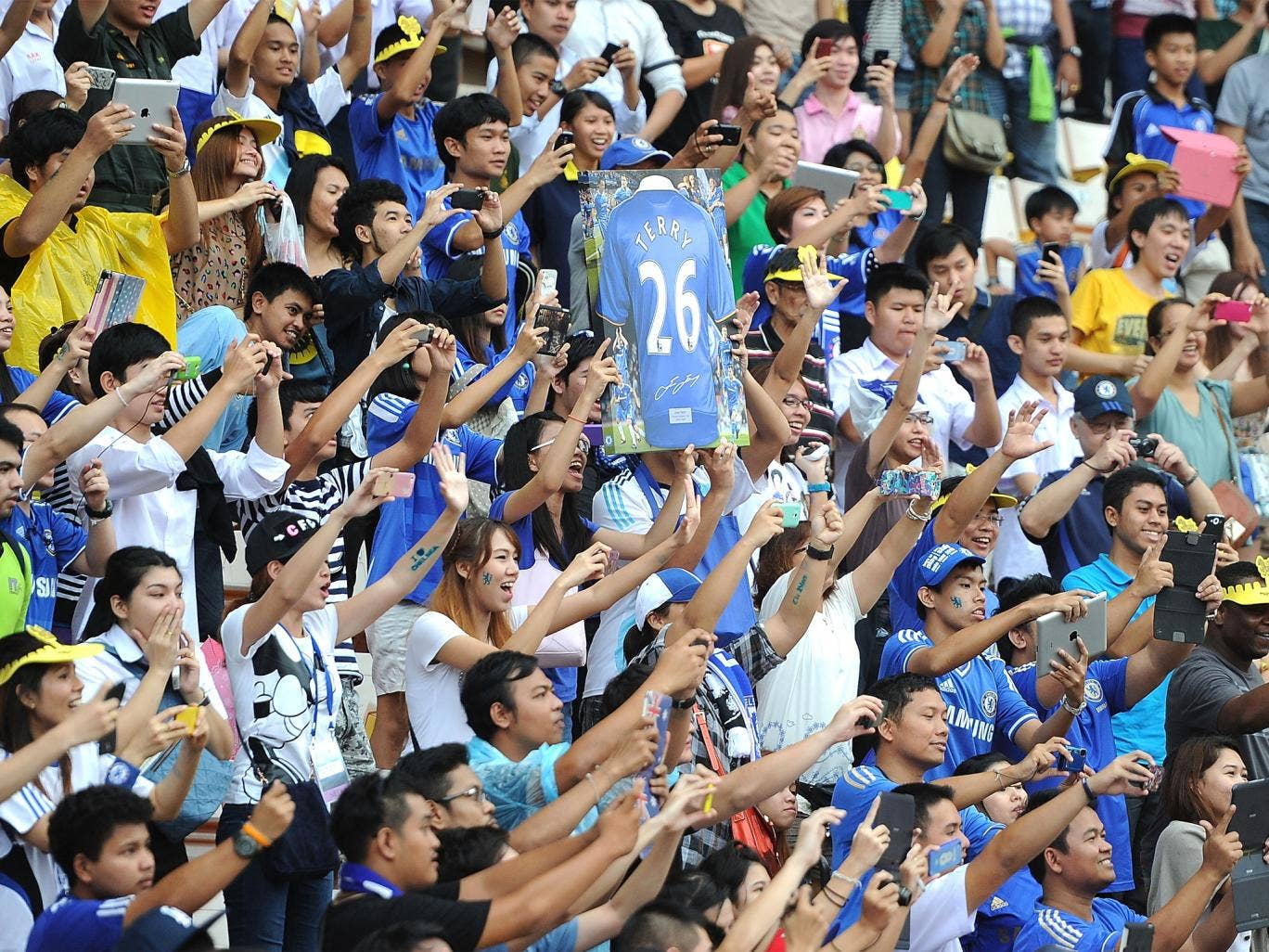 Fans turned up in droves to see watch their Chelsea heroes train at the Rajamangala Stadium