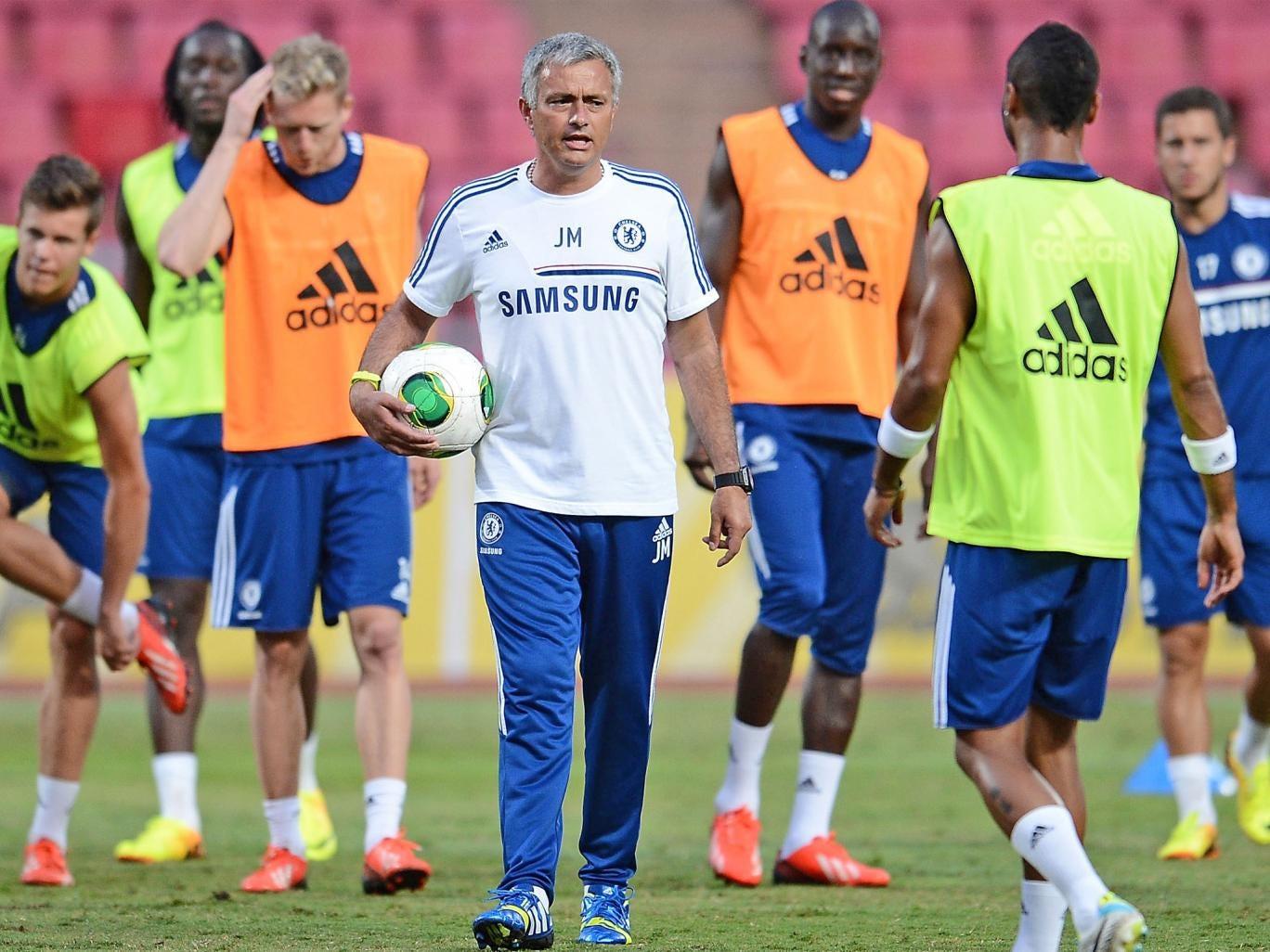 Chelsea manager Jose Mourinho takes a training session at Rajamangala Stadium, Bangkok