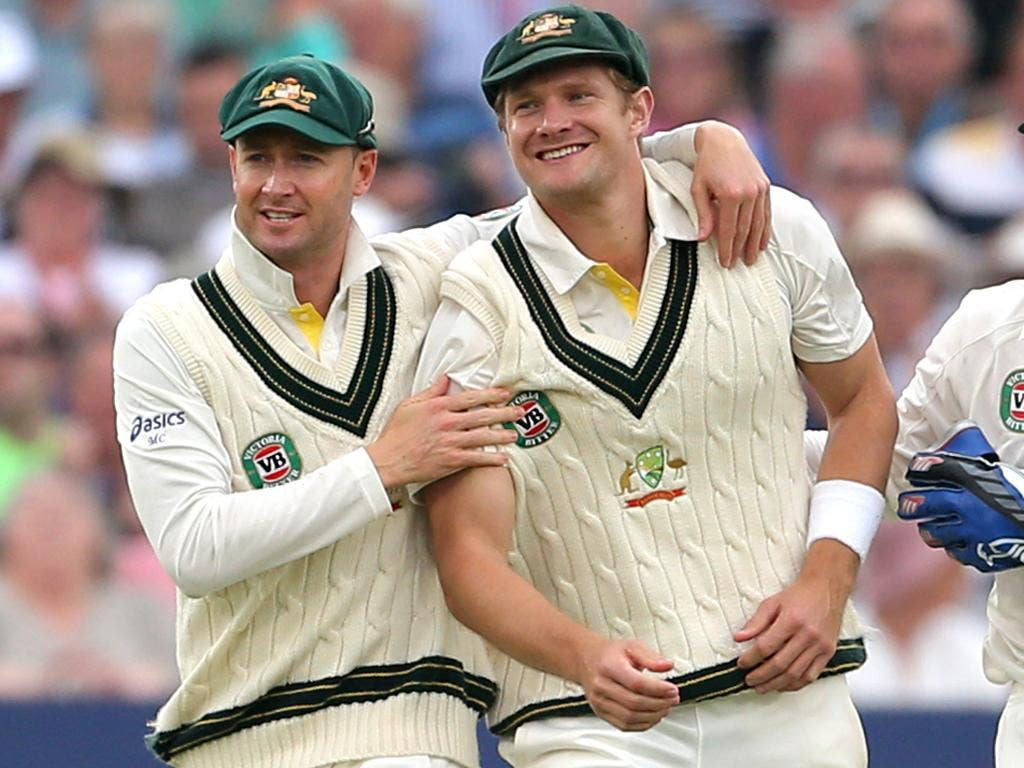 Michael Clarke (left) and Shane Watson are all friends in the slips at Trent Bridge