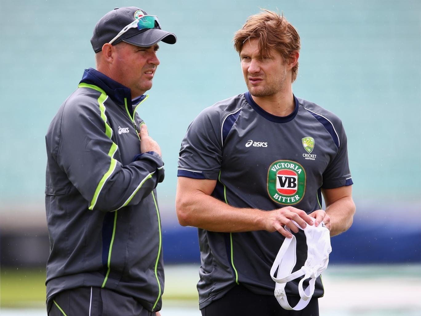 Mickey Arthur (left) speaks to Shane Watson during his days as Australia coach