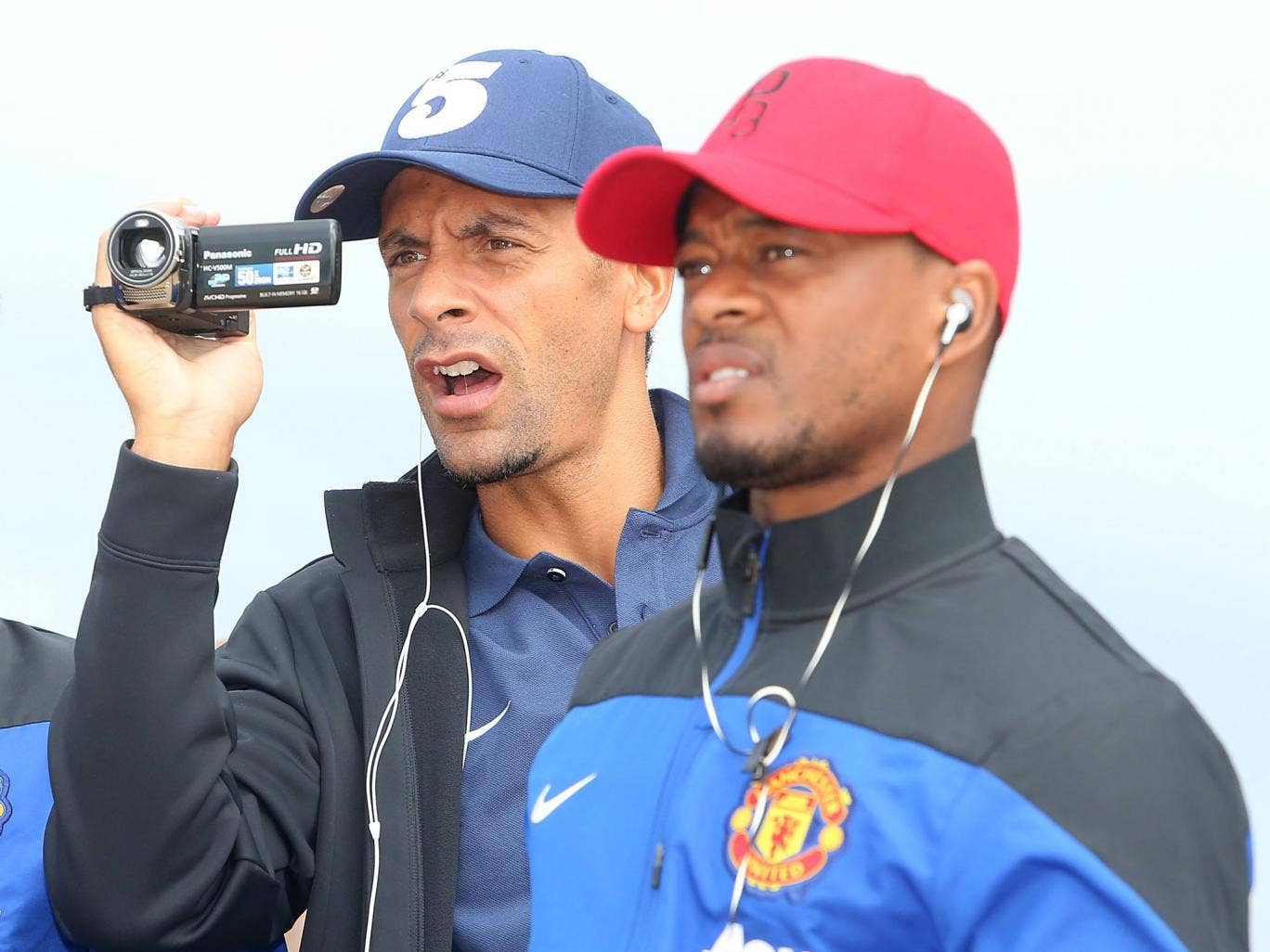 Rio Ferdinand and Patrice Evra of Manchester United visits Manley Beach as part of their pre-season tour