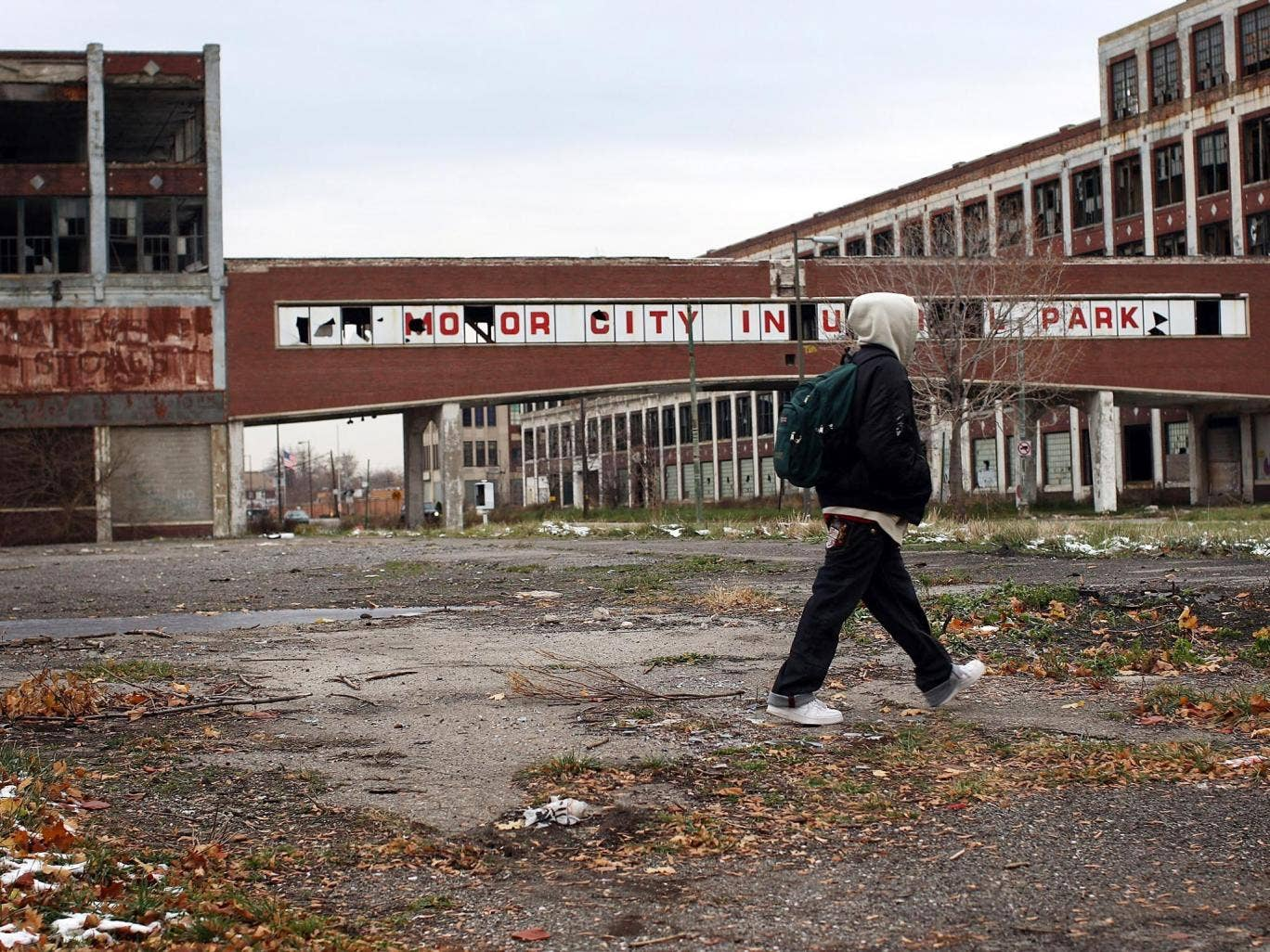 November 2008: A person walks past the remains of the Packard Motor Car Company, which ceased production in the late 1950s in Detroit