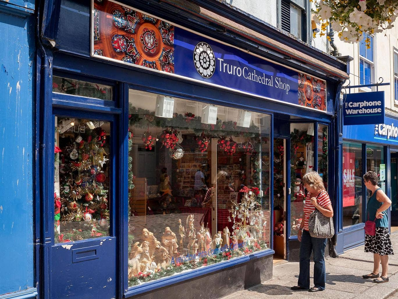 The Christmas themed Truro Cathedral Shop opened in Truro today despite record summer temperatures