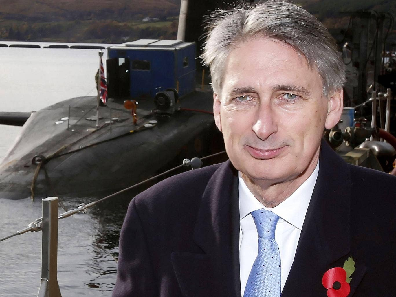 The Defence Secretary, Philip Hammond, at HM Naval Base Clyde