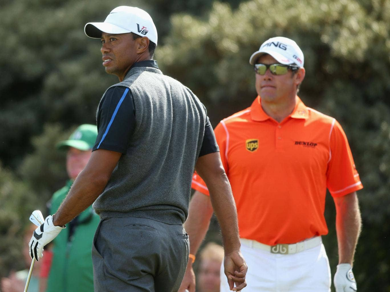 Crouching tiger: Lee Westwood ended the third round two shots ahead of world No 1 Tiger Woods