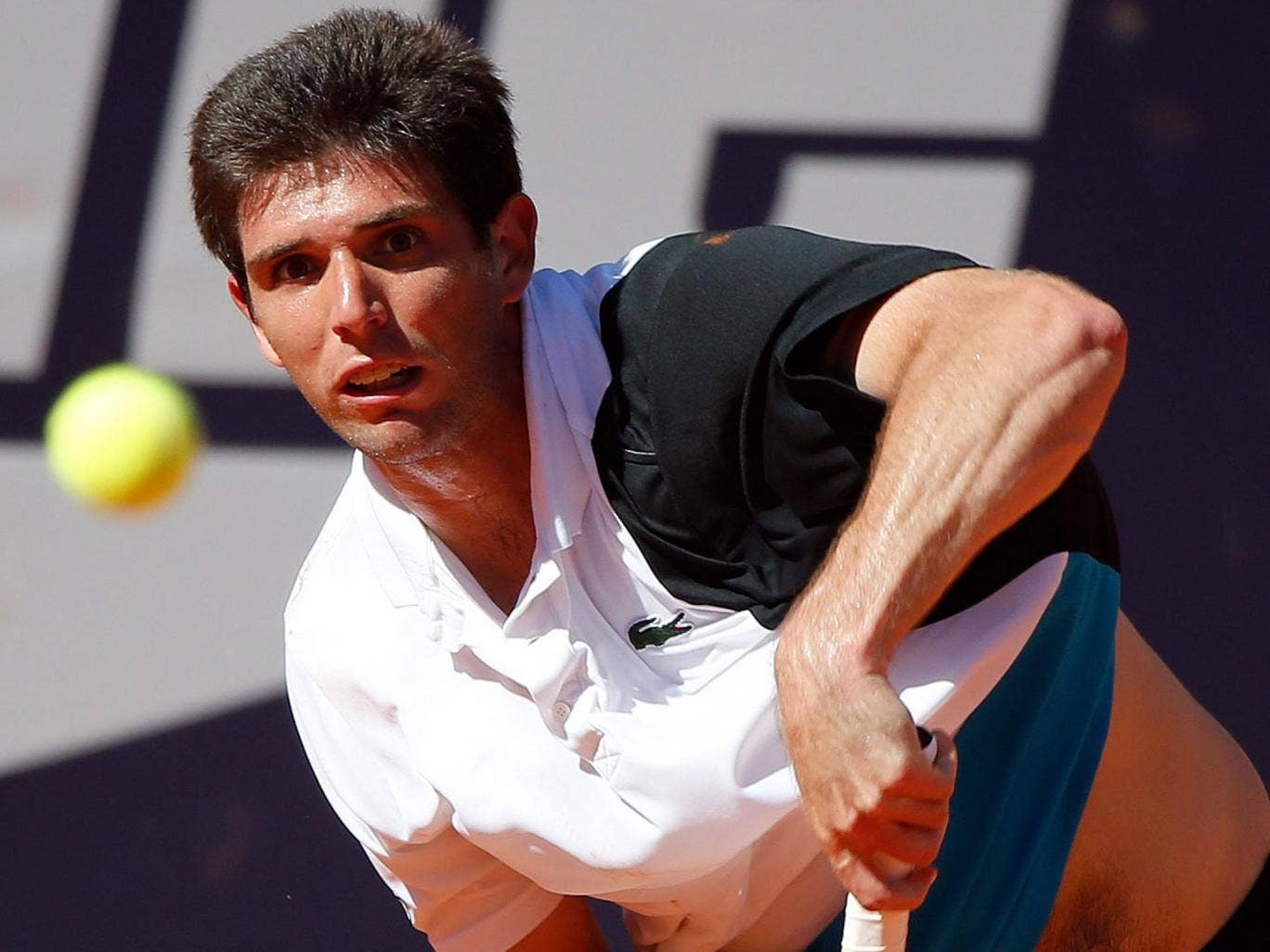 Argy bargy: Federico Delbonis on his way to victory over Roger Federer