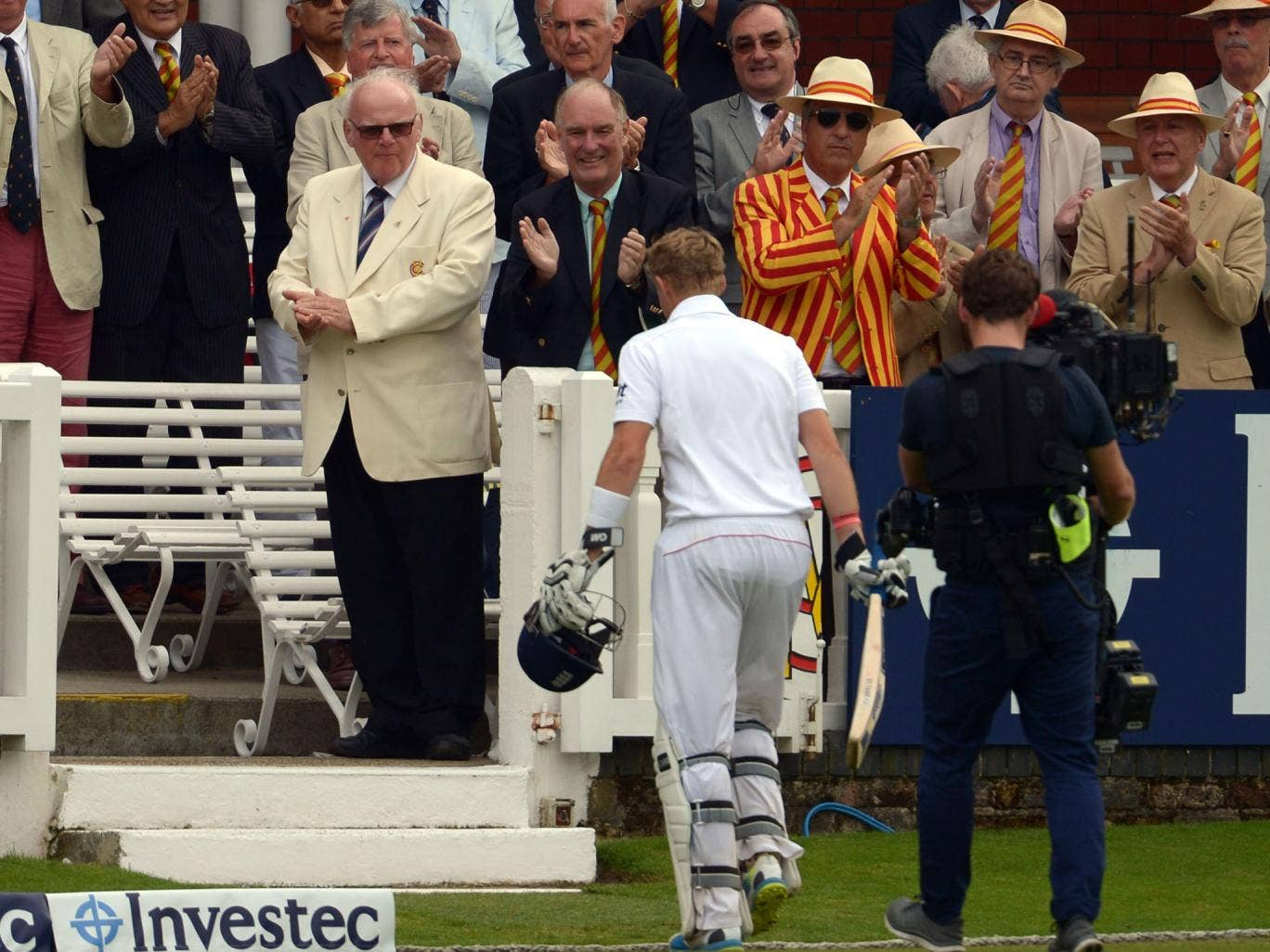 Lord's praise: The members show their appreciation for Joe Root