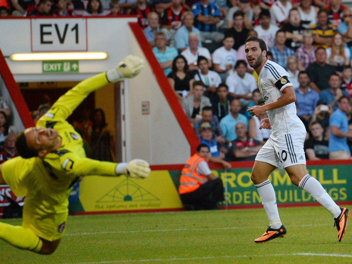 Gonzalo Higuain scores in Real Madrid's pre-season friendly against Bournemouth at Dean Road