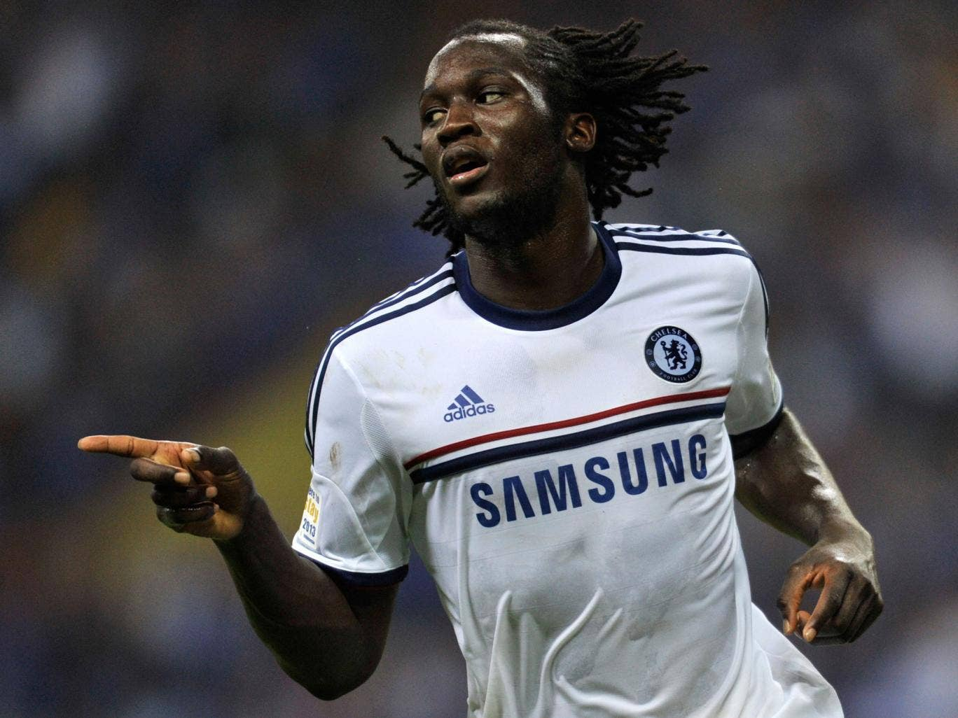 Romelu Lukaku celebrates a goal in Chelsea's 4-1 win over a Malaysia XI