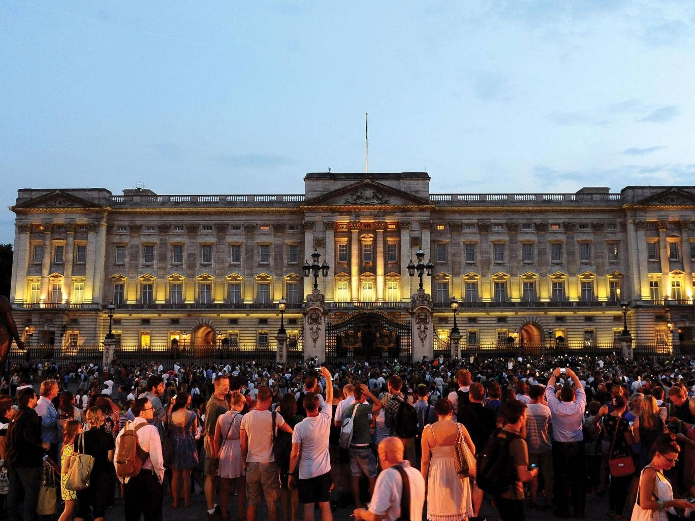 Crowds have gathered in front of Buckingham Palace, while others have taken to Twitter to send their good wishes