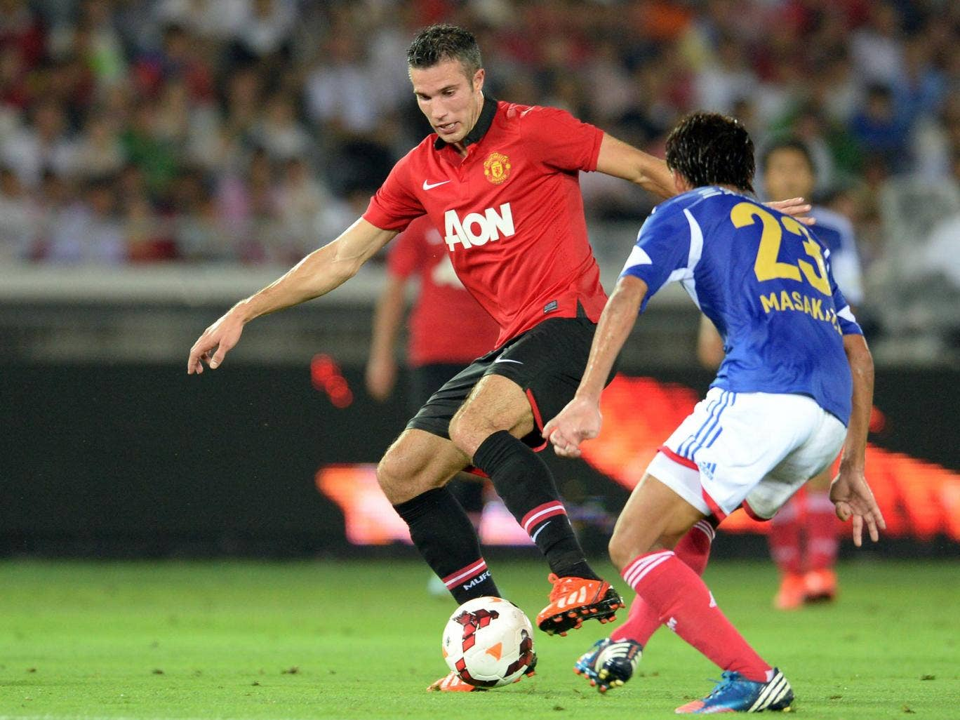 Robin van Persie in action against Yokohama