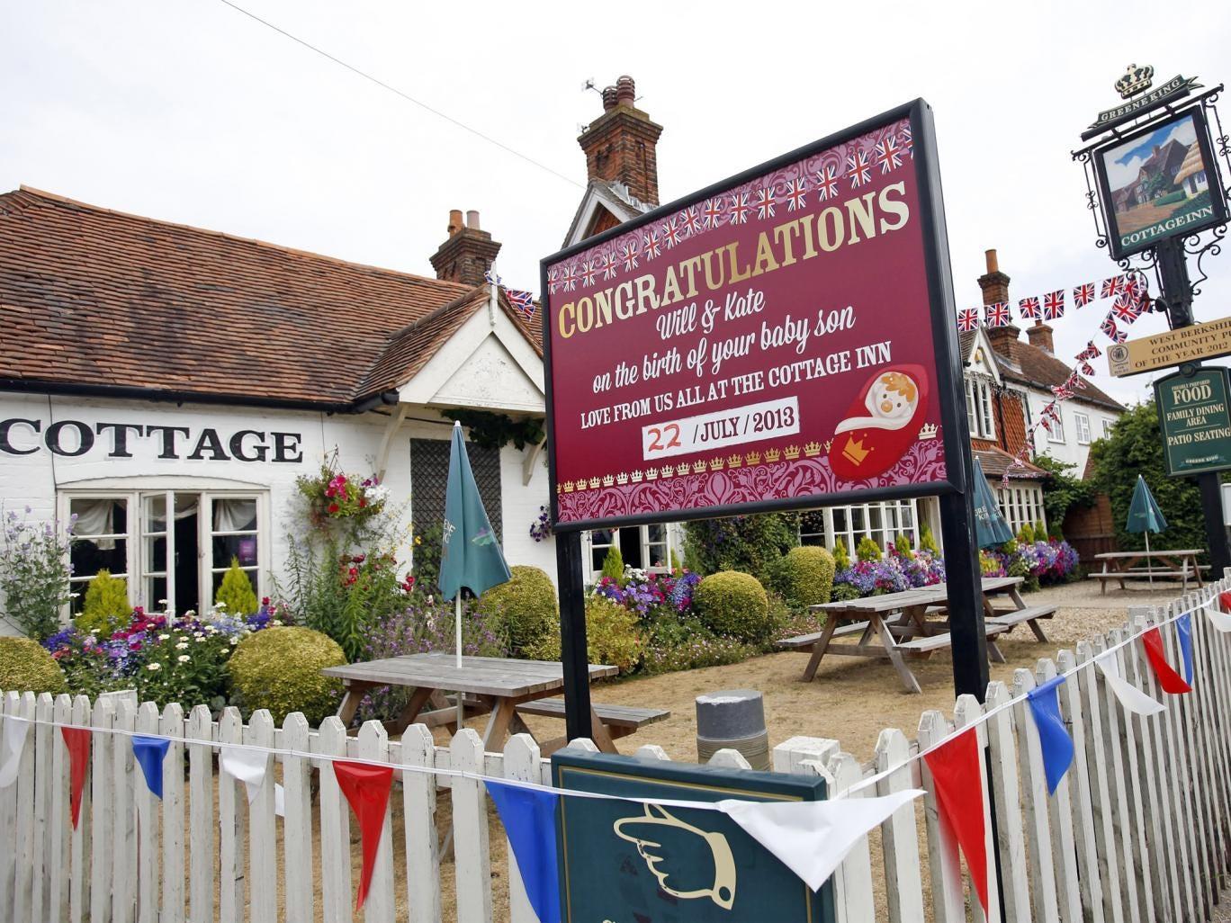 The 'Cottage Inn' pub in Bucklebury marks the historic birth