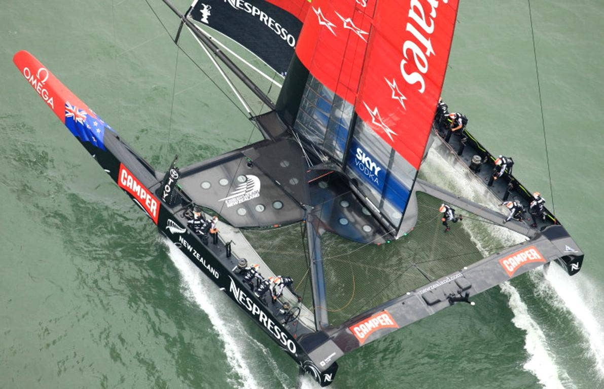 New Zealand completed the 15.43-nautical-mile course in 46 minutes, 53 seconds