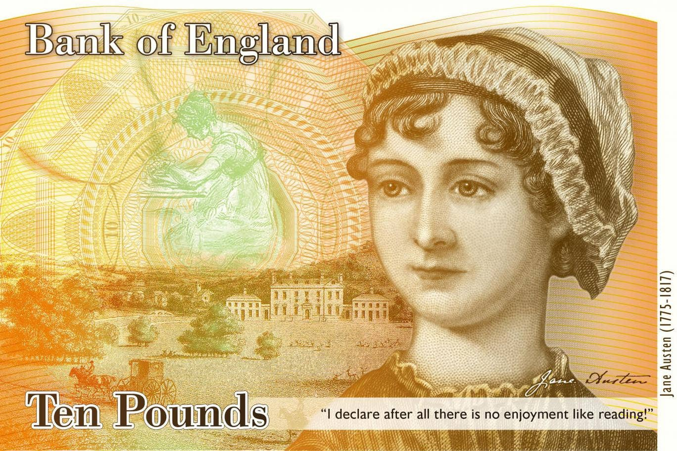 An image of the concept design for the reverse of the new £10 note featuring author Jane Austen