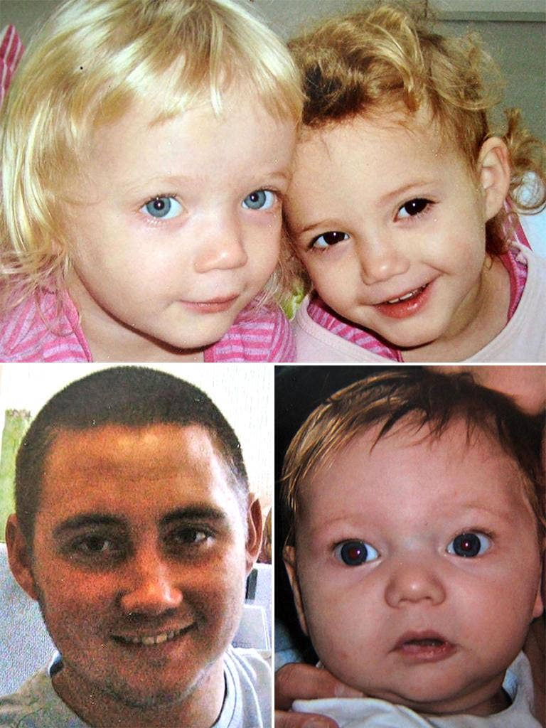 (Top) Four-year-old twin girls Holly and Ella Smith, (Bottom from left)  Reece Smith, 19, and Jordan Smith, aged two