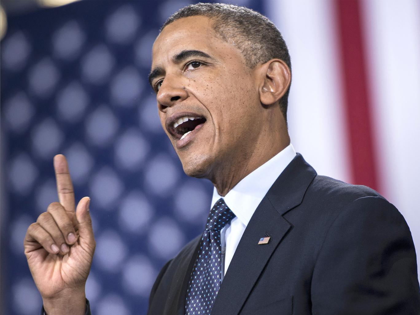 US President Barack Obama speaking in Galesburg, Illinois, on Wednesday