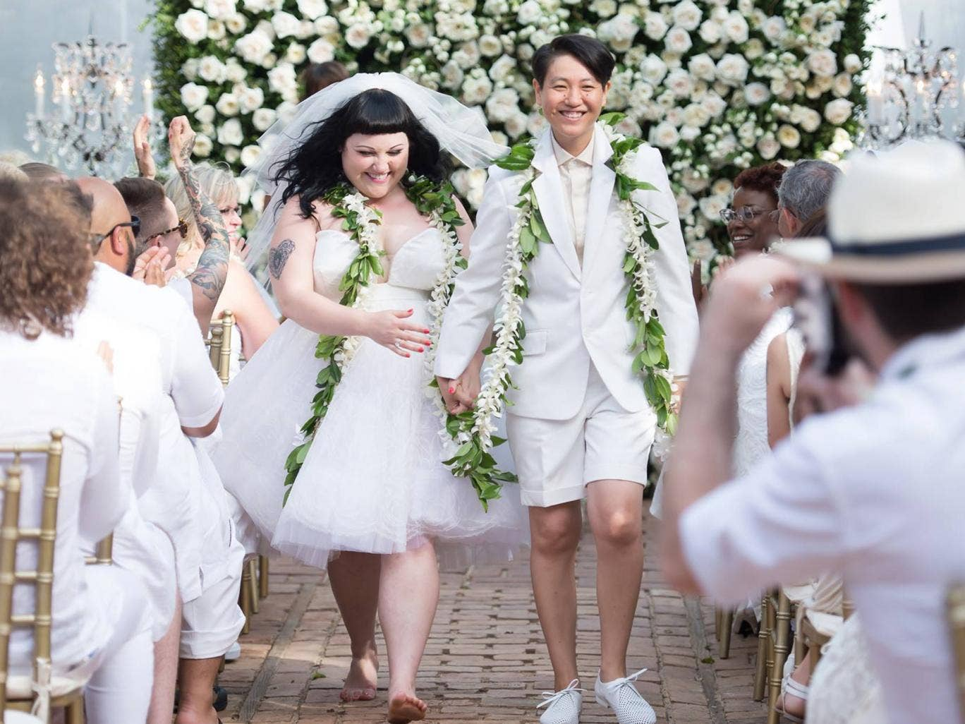 The married couple: Gossip singer Beth Ditto and Kristin Ogata