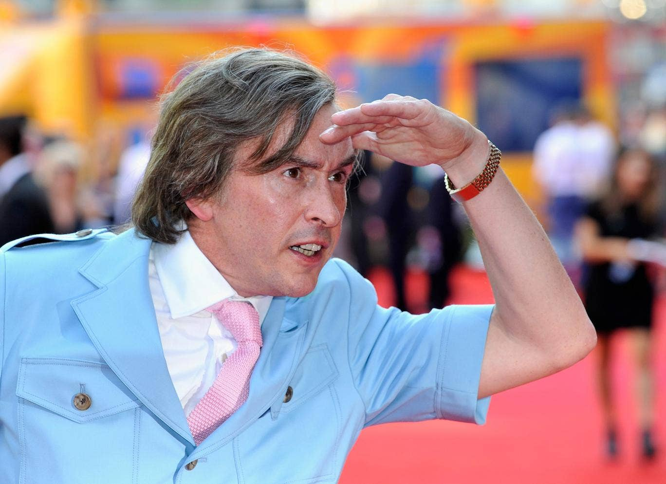 Alan Partridge, aka Steve Coogan, greets fans at the London premiere of Alpha Papa