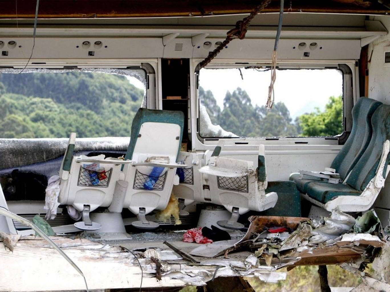 The interior of one of the passenger cars of the train accident in Santiago de Compostela
