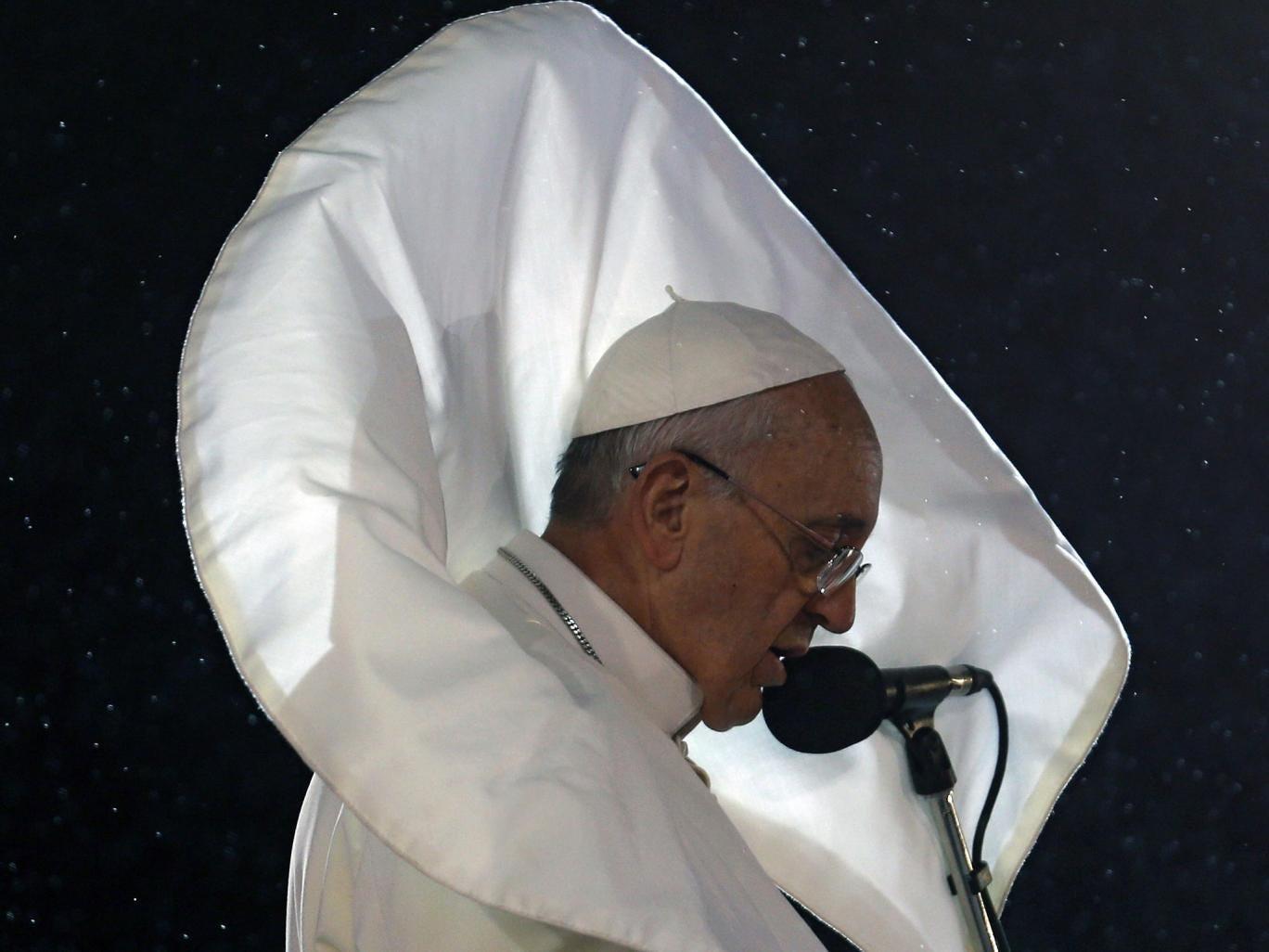 Pope Francis delivers a speech to Catholic faithful at Copacabana beach in Rio de Janeiro