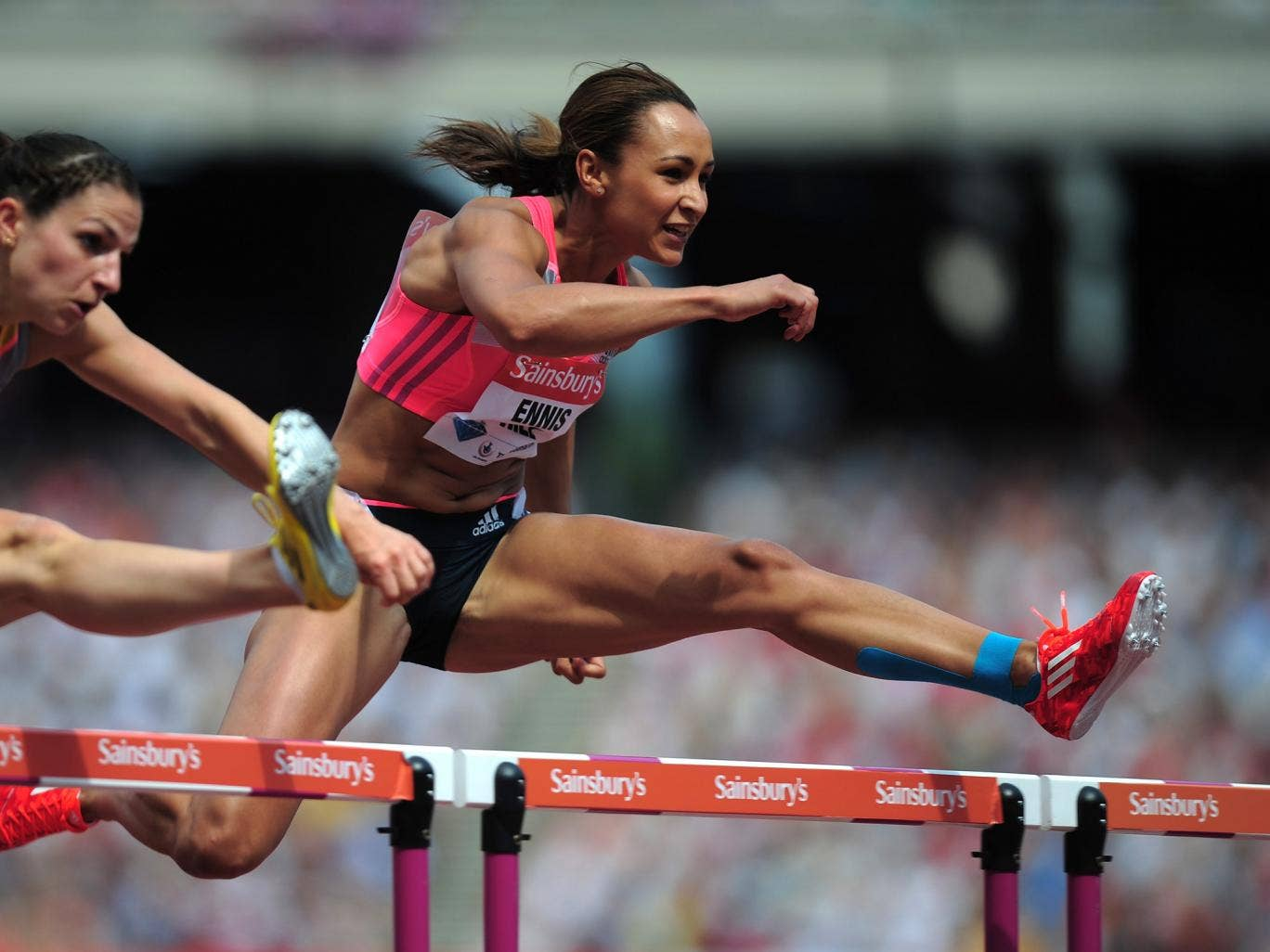 Jessica Ennis-Hill of Great Britain competes in the Women's 100m Hurdles