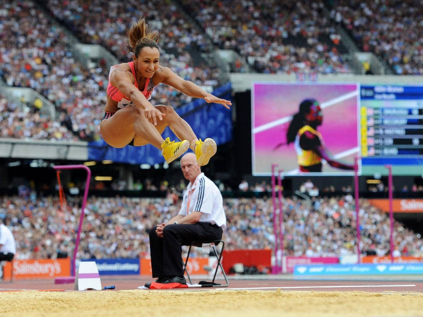 Leap of faith: Jessica Ennis-Hill continues her comeback from injury at the Anniversary Games in London