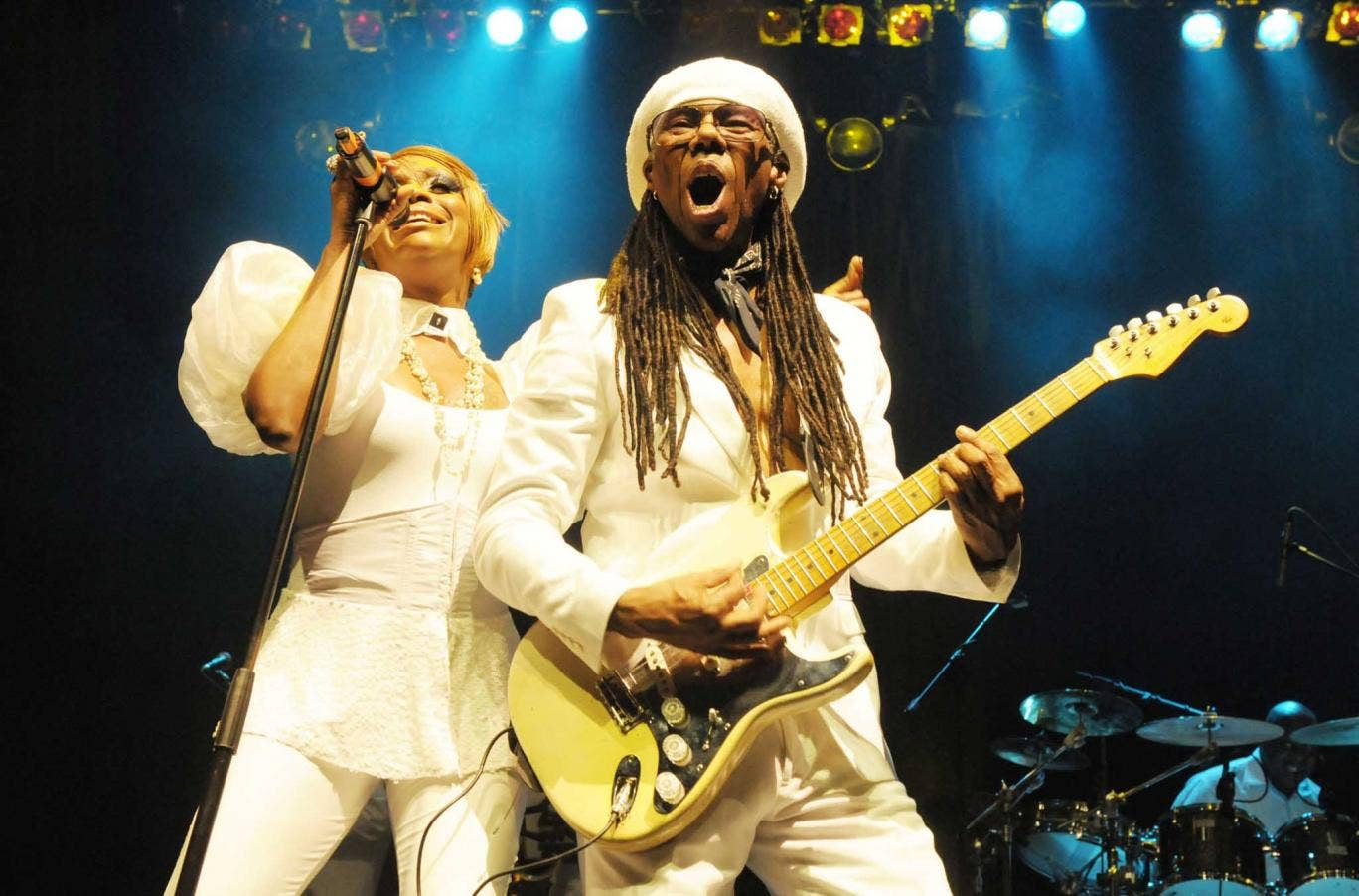 Nile Rodgers performing on stage at the Indigo2, London