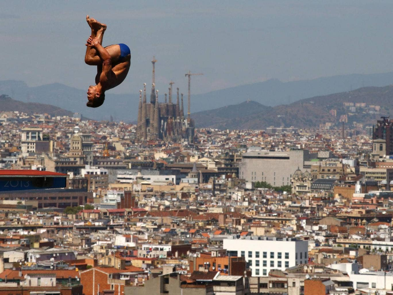 Tom Daley of Great Britain competes during the Men's 10m Platform Diving final