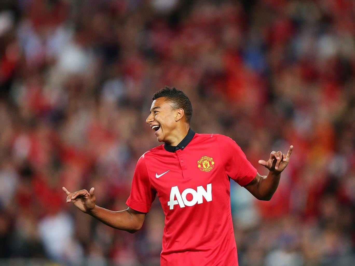 Jesse Lingard in action of Manchester United's pre-season tour