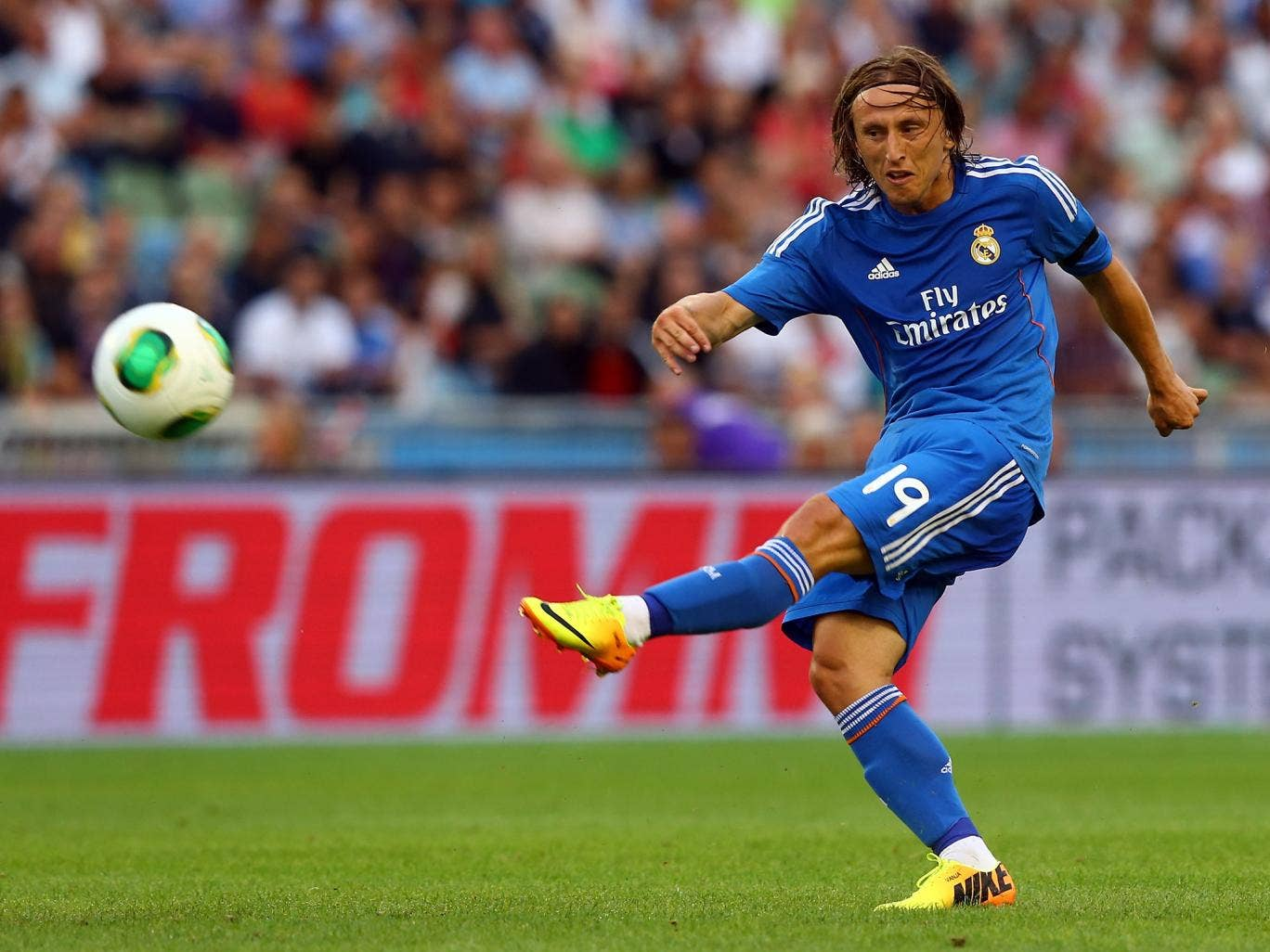 Luka Modric in pre-season action for Real Madrid in Sweden
