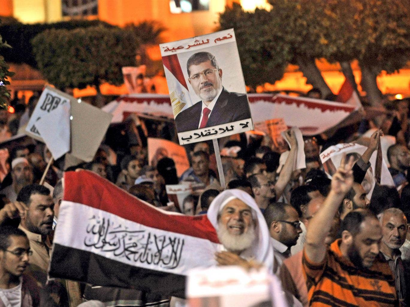 Egyptian supporters of Morsi protest in Cairo