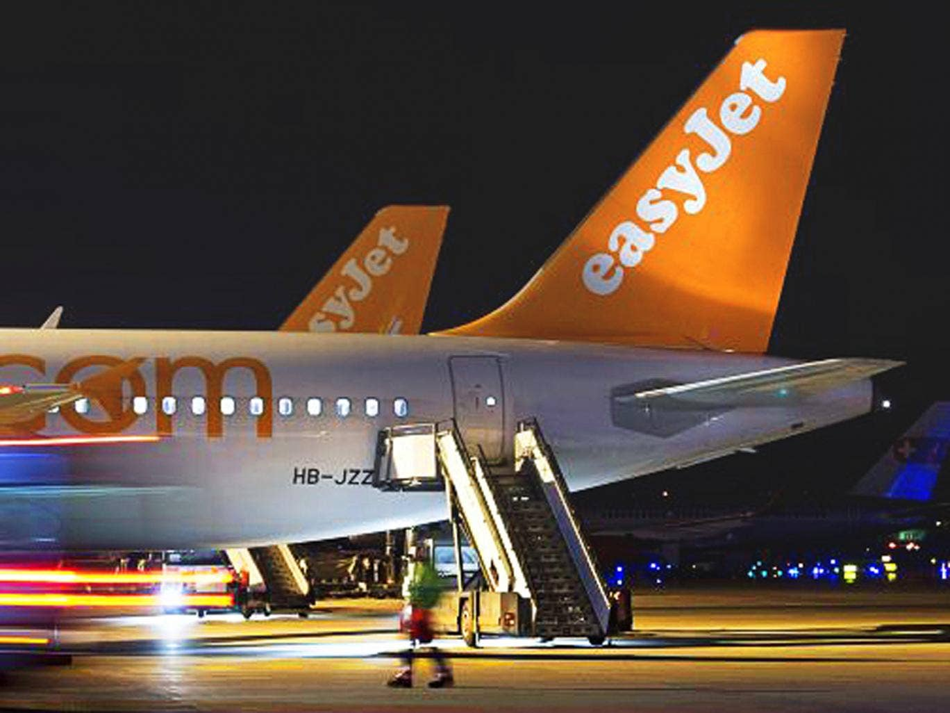 Tail back: easyJet planes at Geneva airport
