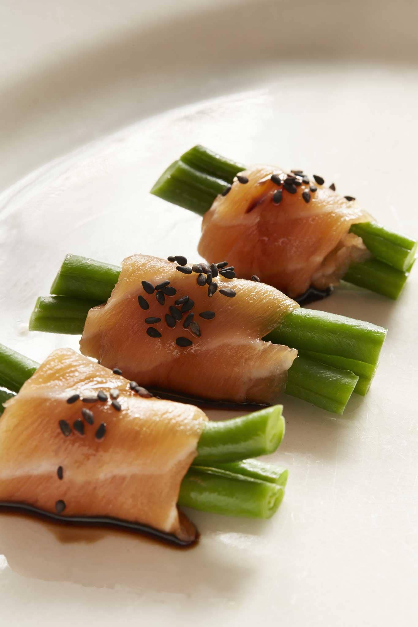 Green bean and salmon canap s recipes lifestyle the for Salmon canape ideas
