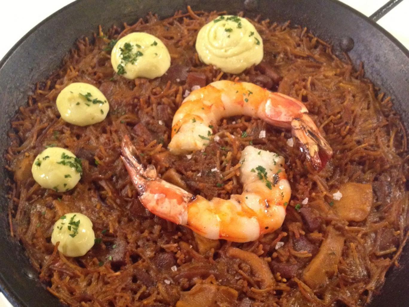 Tramontana Brindisa' pasta with cuttlefish, prawns, and aioli