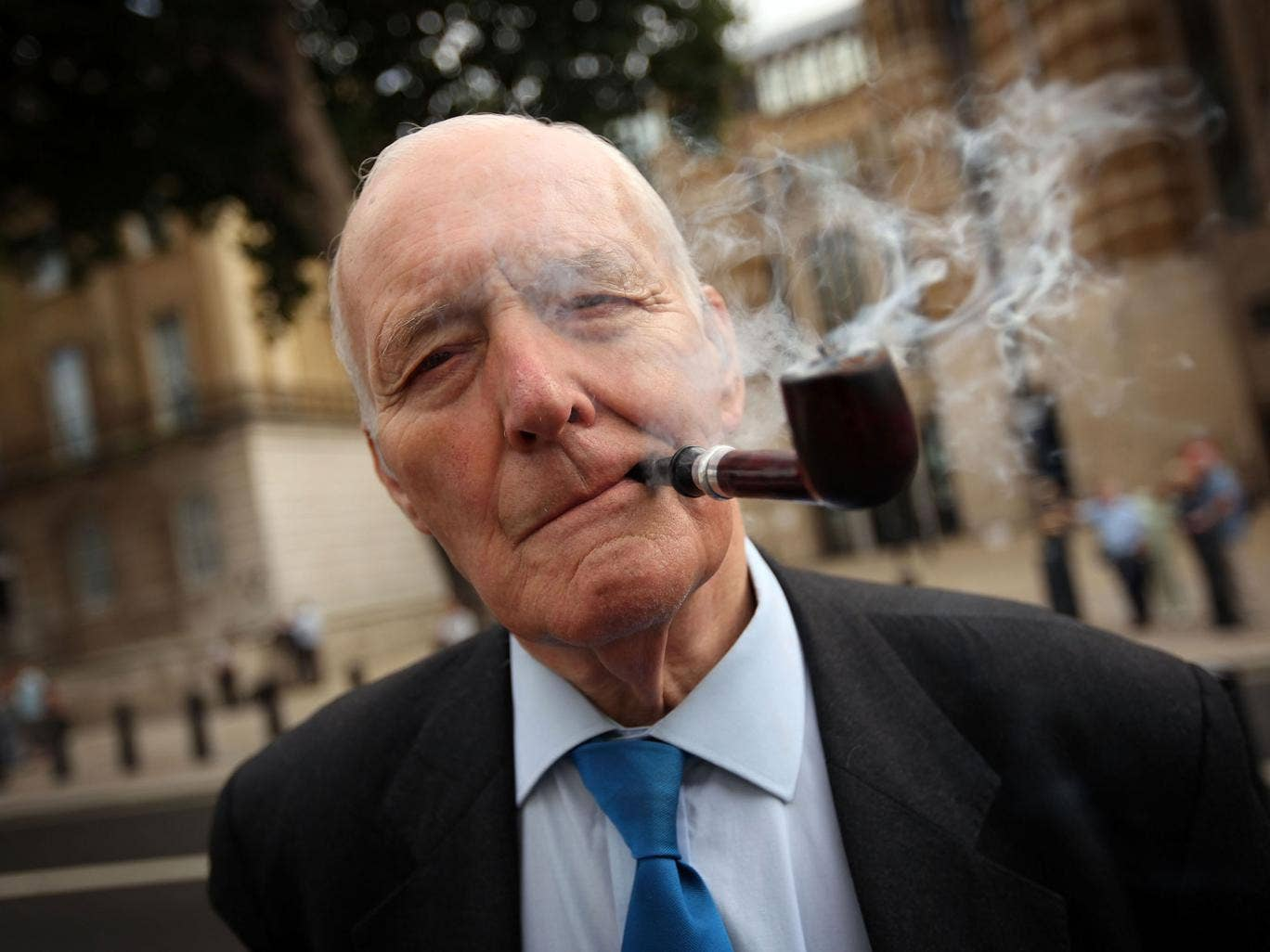 Former Labour MP Tony Benn arrives to lay a wreath at the Cenotaph on Whitehall at a Ceremony for the 204 dead Soldiers on August 17, 2009 in London, England.