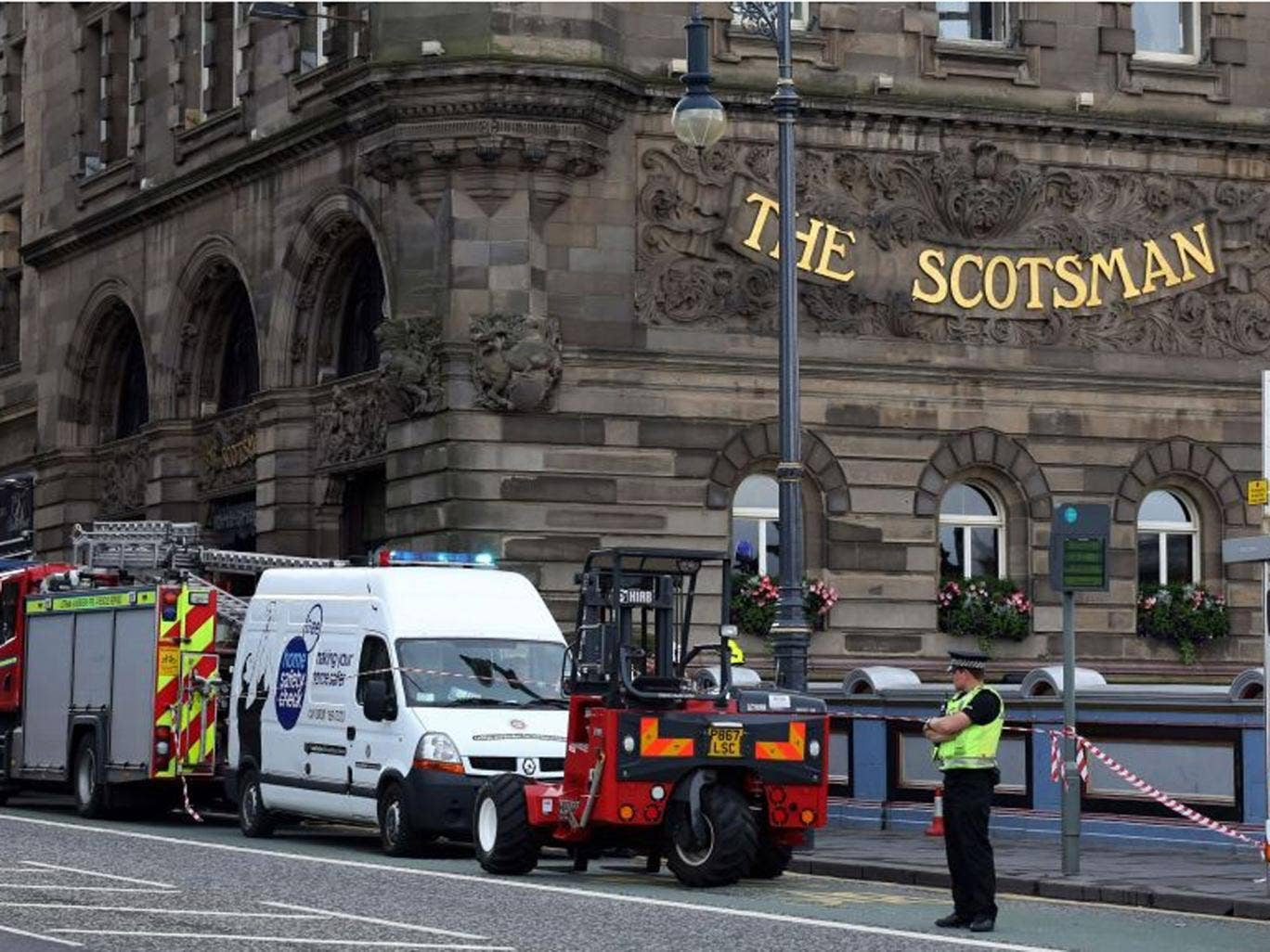 The sixth floor of the Scotsman Hotel was evacuated after two died in a 'chemical incident'