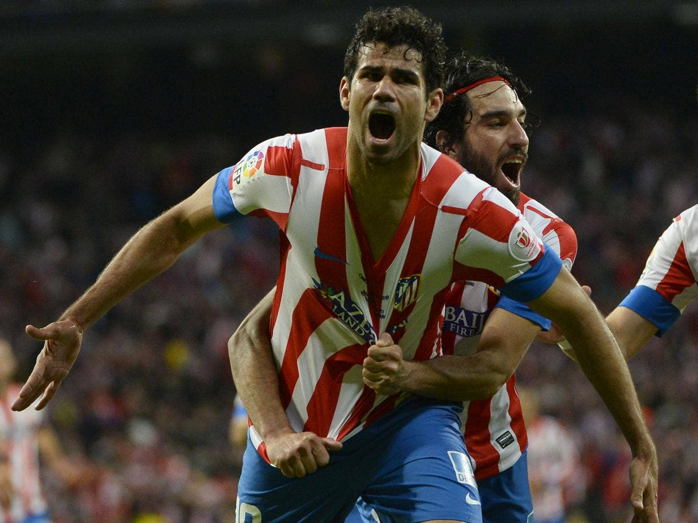 Diego Costa celebrates scoring for Atletico Madrid