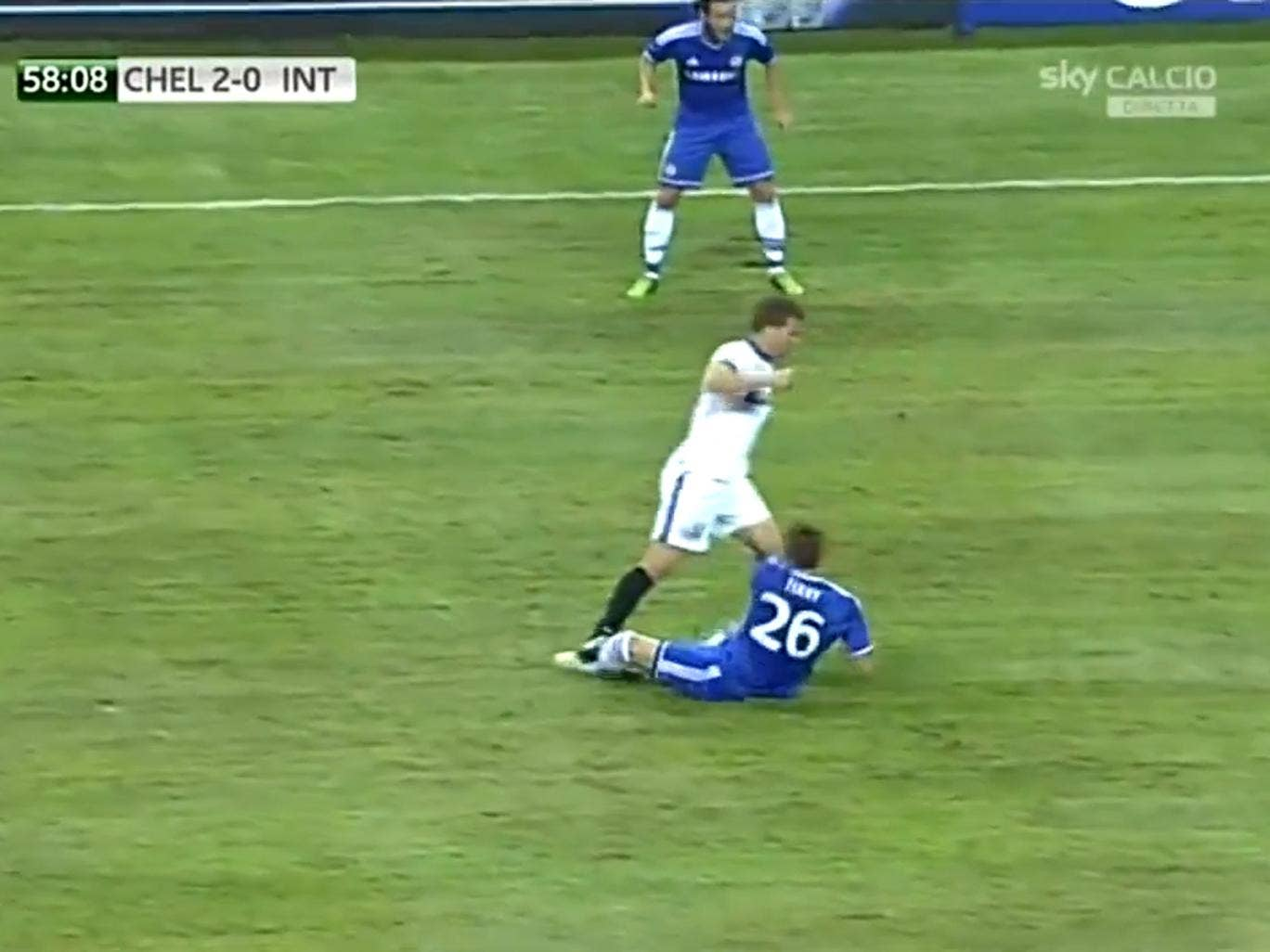 Hugo Campagnaro was sent-off for this horror challenge on Chelsea captain John Terry