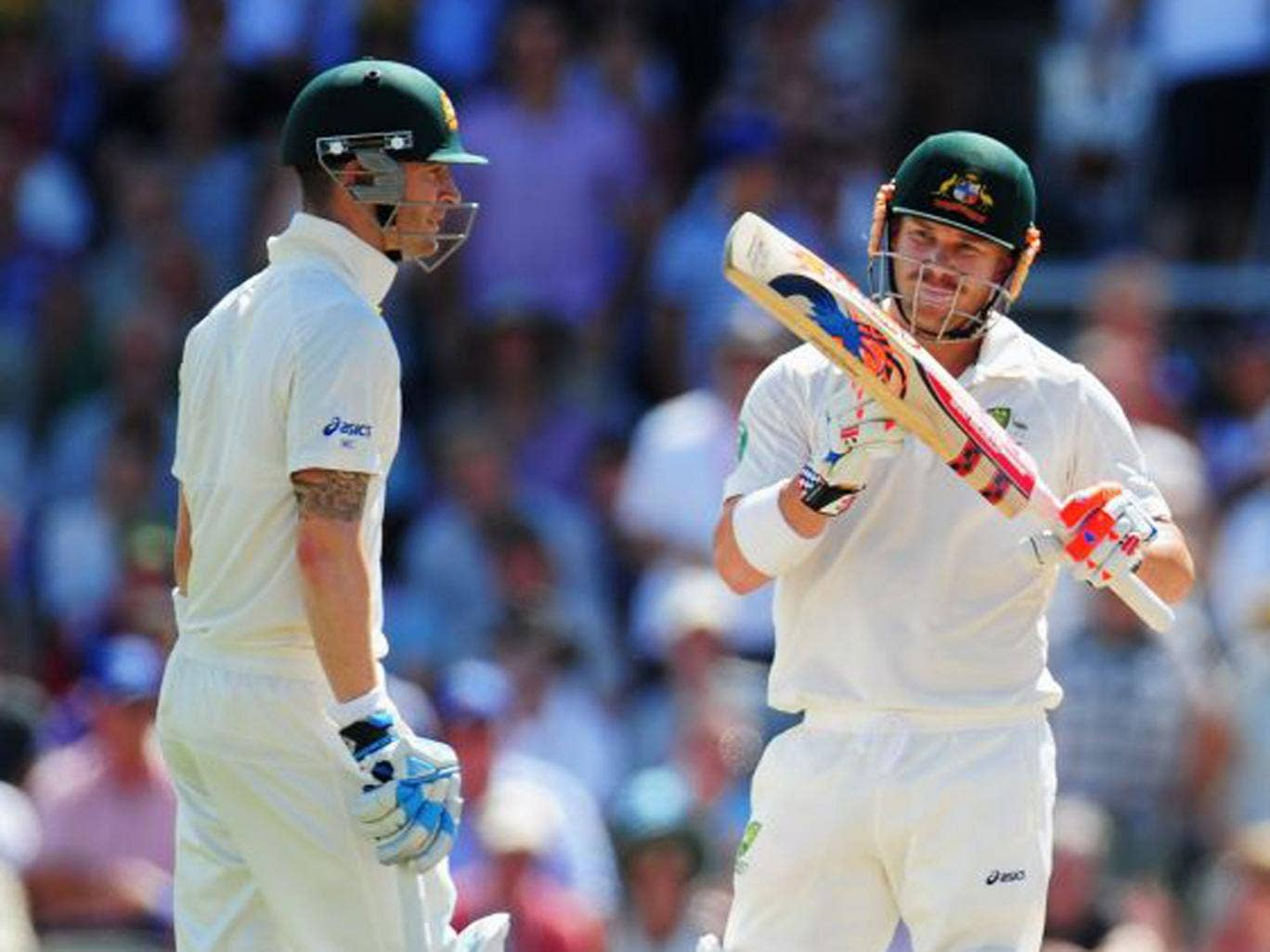 David Warner calls for a review after being caught yesterday
