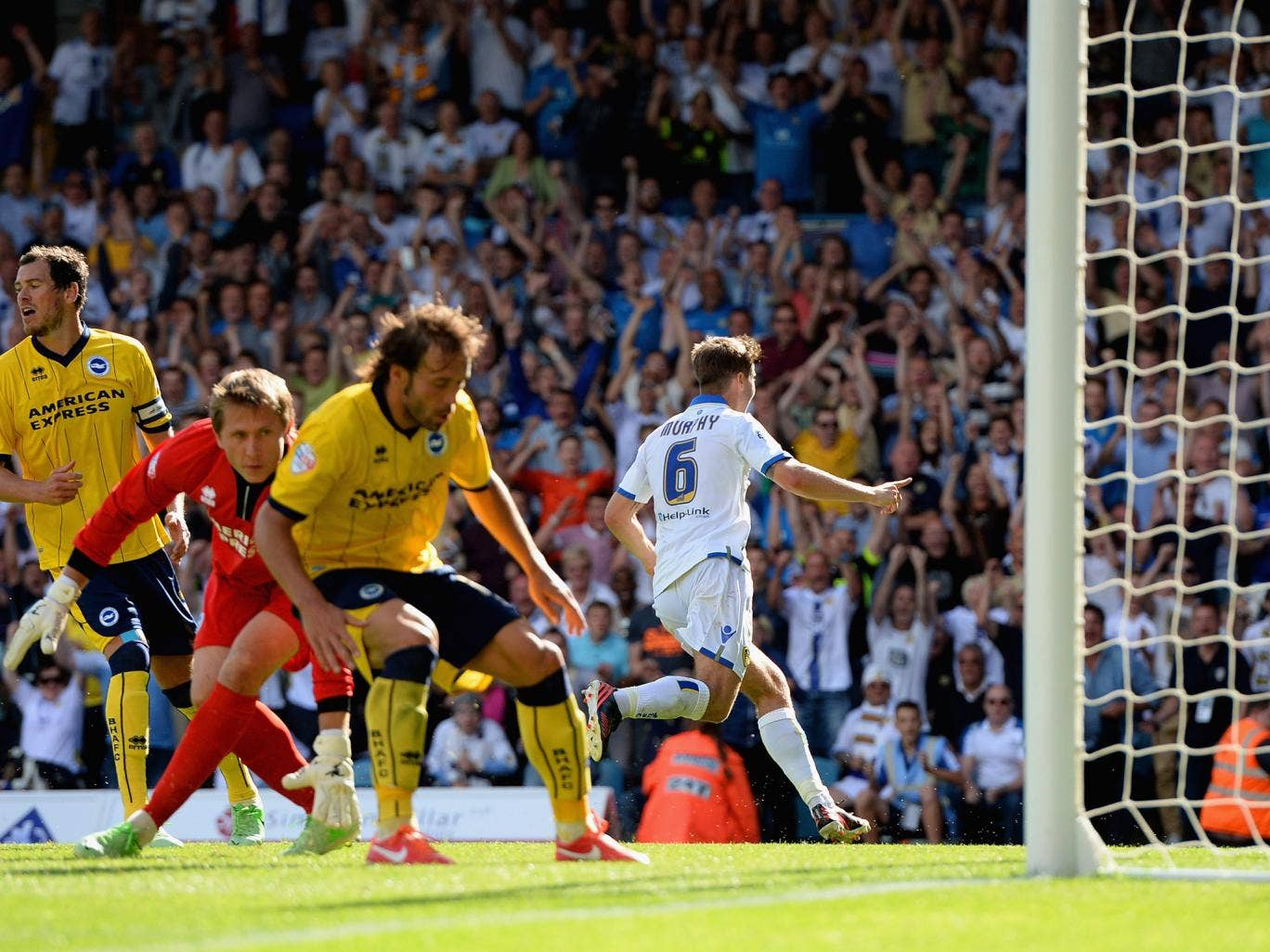Luke Murphy turns to celebrate his late winning goal for Leeds in the 2-1 victory over Brighton