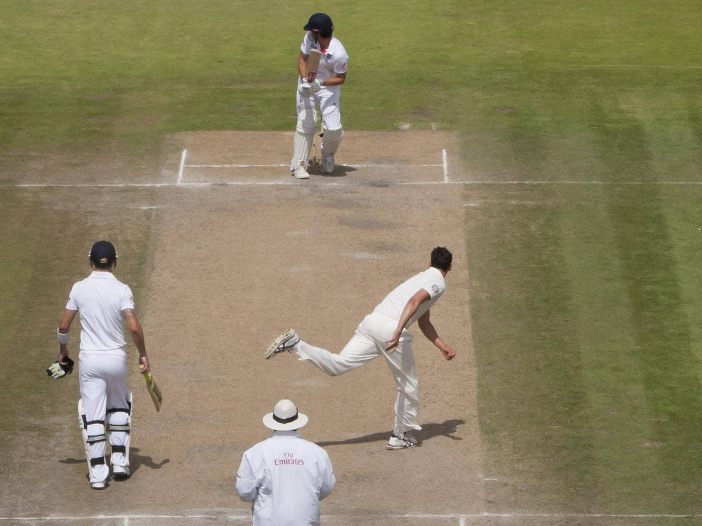 Safe hands: Brad Haddin prepares to take a brilliant catch off Alastair Cook