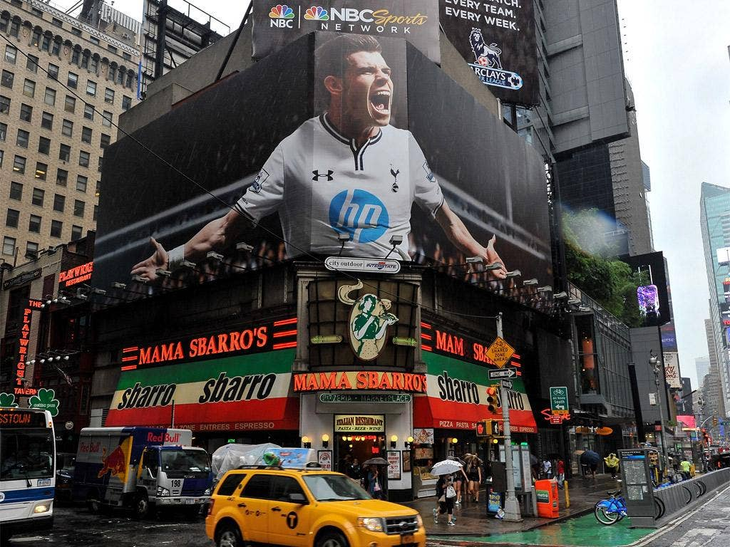 Sign of the Times: Gareth Bale's notoriety has even reached Times Square