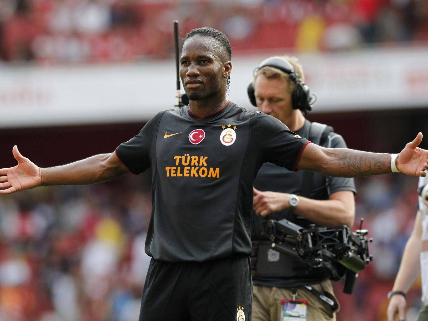 Galatasaray's Ivorian striker Didier Drogba reacts at the final whistle after scoring his side's two goals