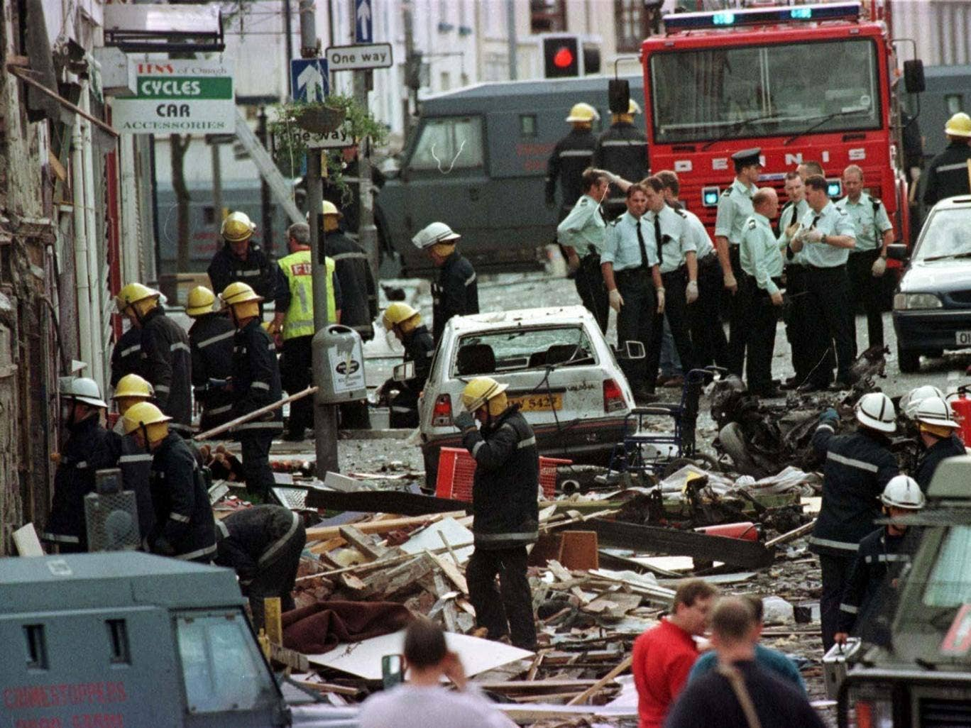 Market Street in Omagh after the bombing in 1998, for which no one has been convicted