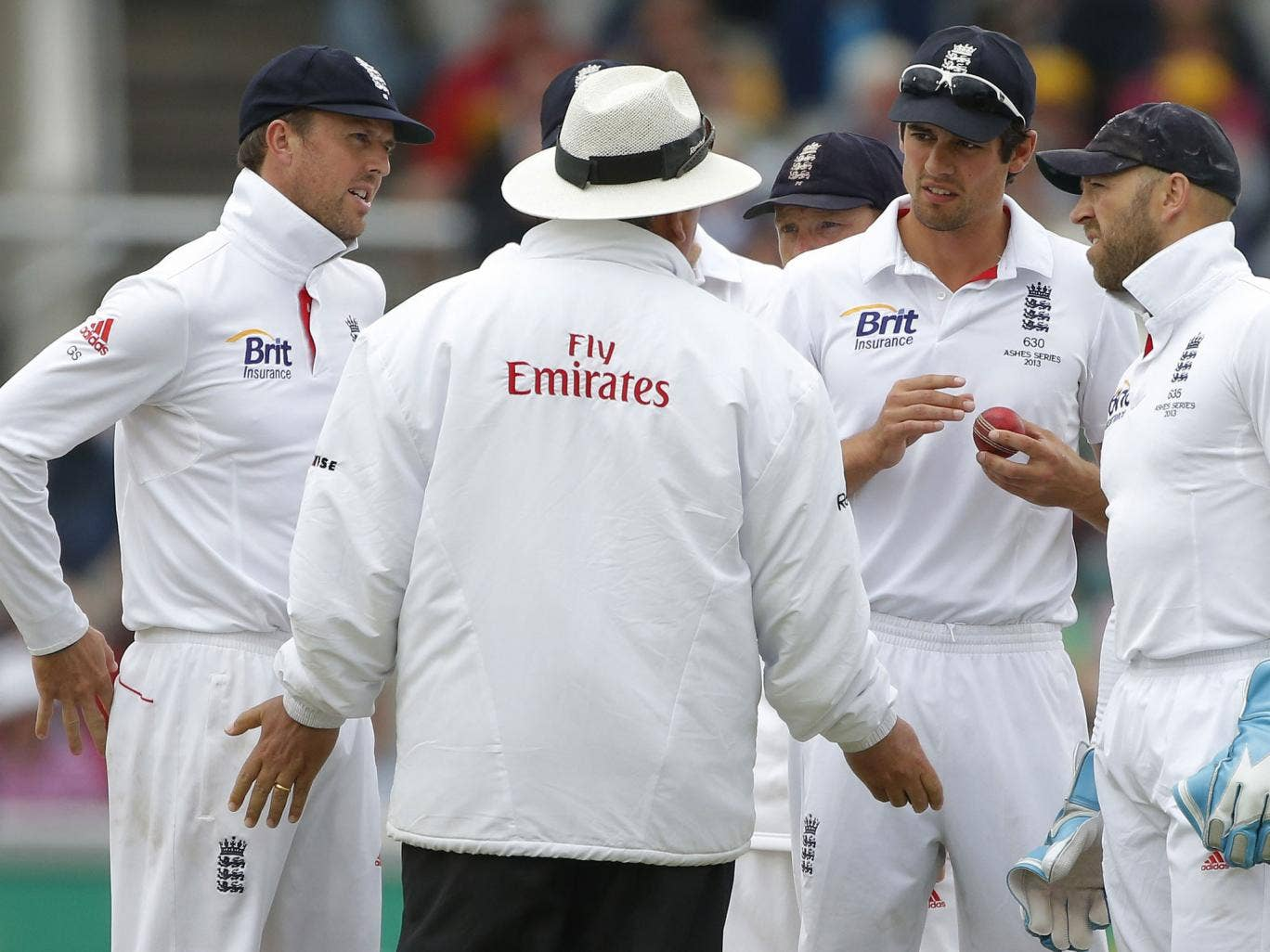 Matt Prior, second right, was left frustrated that David Warner should have been given out caught behind