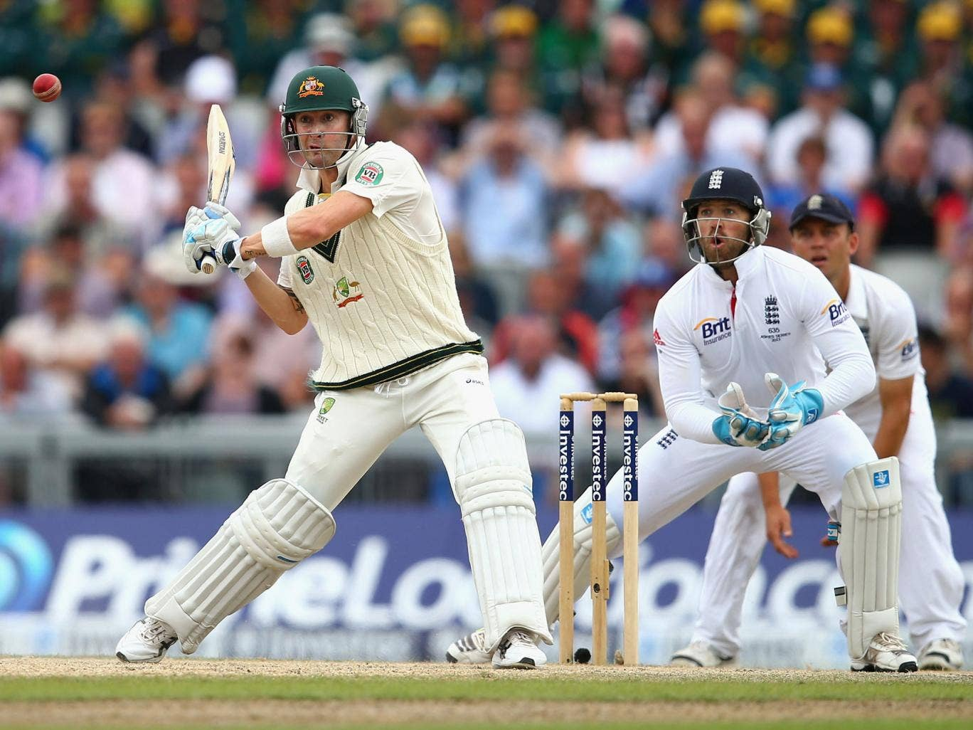 Michael Clarke, left, shows the aggressive approach