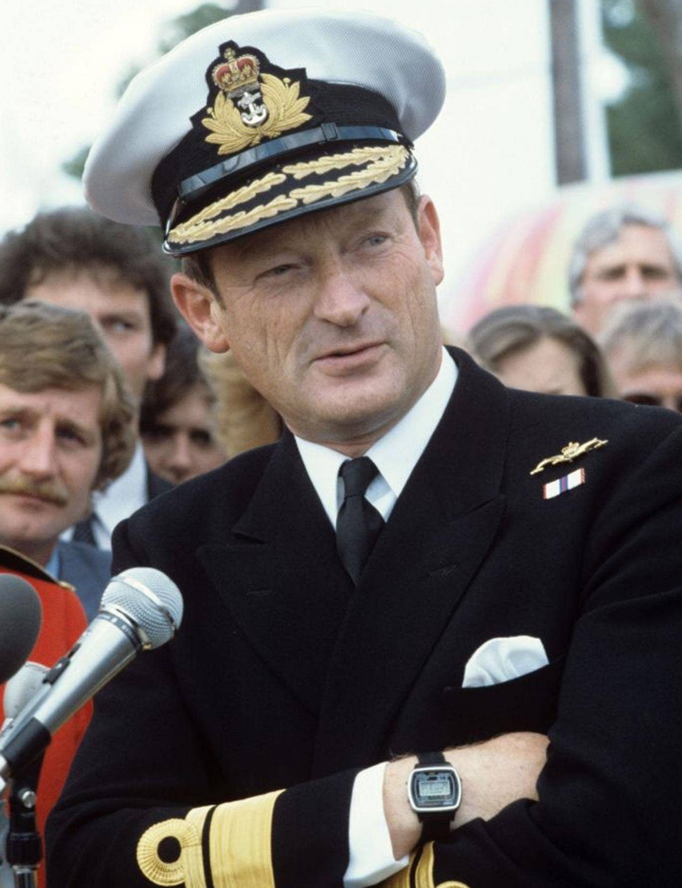 A forthright defender of the Falklands legacy – and a fierce critic of defence cuts: Woodward in 1982